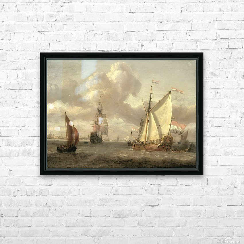 Ship on the River IJ in Amsterdam, around 1661 HD Sublimation Metal print with Decorating Float Frame (BOX)