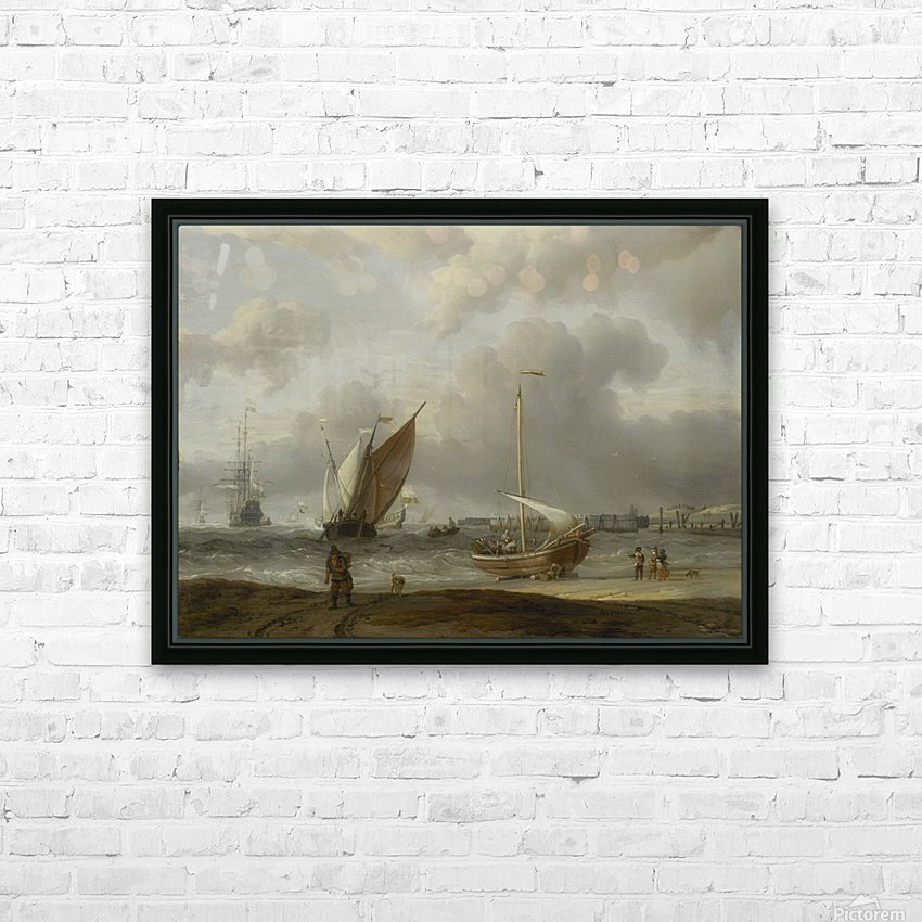 Fishing boats in storm off the Dutch Coast at Den Helder HD Sublimation Metal print with Decorating Float Frame (BOX)