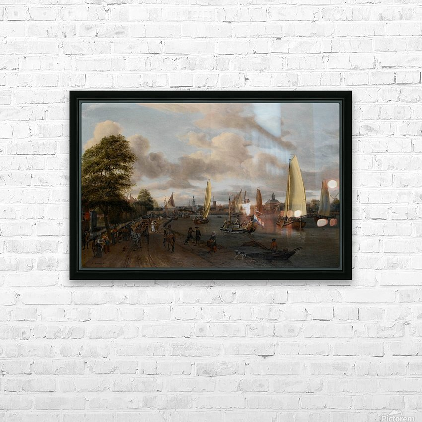 The river Buiten-Amstel with a trekschuit and other shipping HD Sublimation Metal print with Decorating Float Frame (BOX)