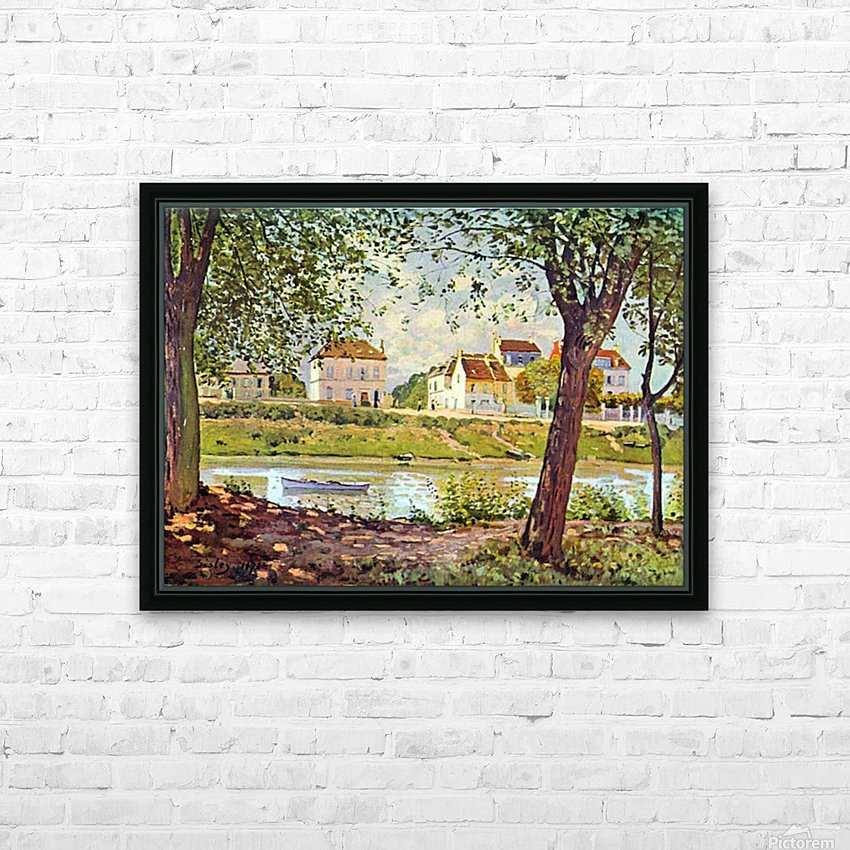 Village on the banks of the Seine by Sisley HD Sublimation Metal print with Decorating Float Frame (BOX)