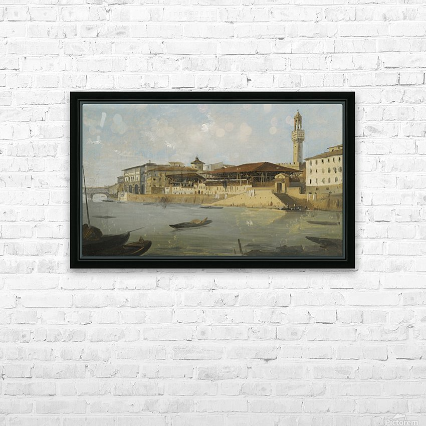 Florence, a view of the Arno with the Tiratoio delle Grazie HD Sublimation Metal print with Decorating Float Frame (BOX)