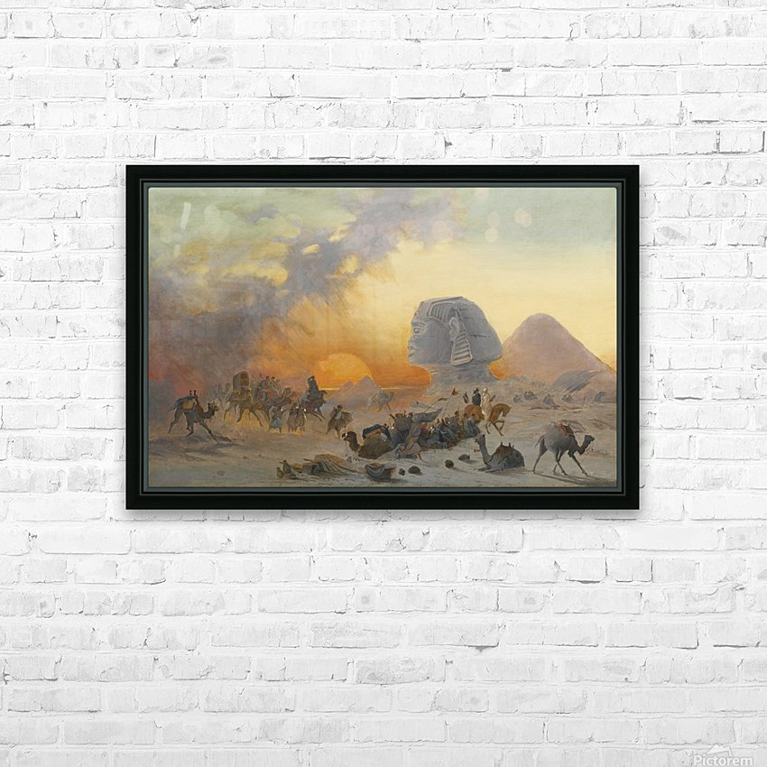 A caravan fleeing from a desert simoom near the sphinx HD Sublimation Metal print with Decorating Float Frame (BOX)