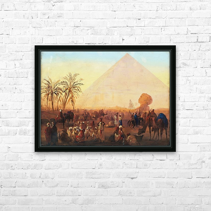 Caravan having a break at the pyramids HD Sublimation Metal print with Decorating Float Frame (BOX)