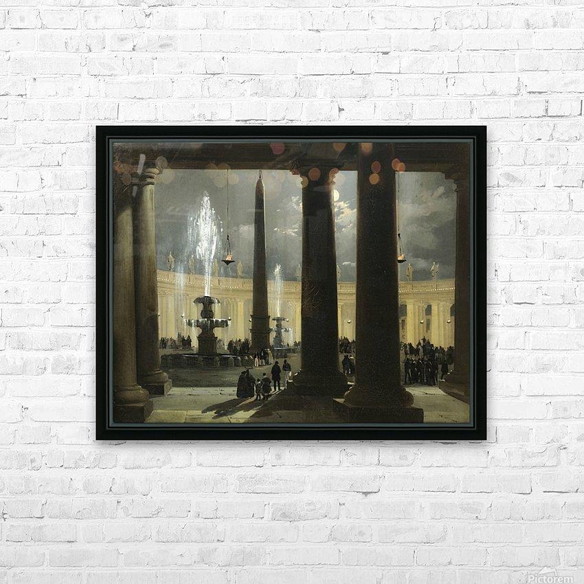 La place saint Pierre de Rome au clair de lune HD Sublimation Metal print with Decorating Float Frame (BOX)