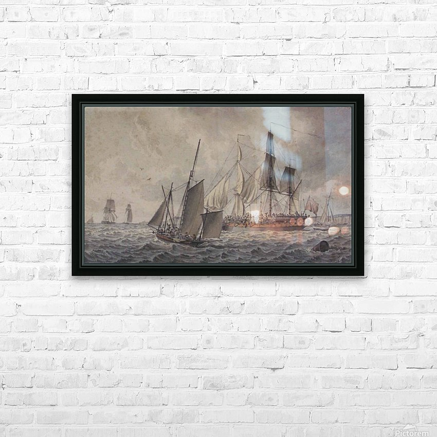 Frigate and fishing boats in harbor in the collection at The Mariners HD Sublimation Metal print with Decorating Float Frame (BOX)