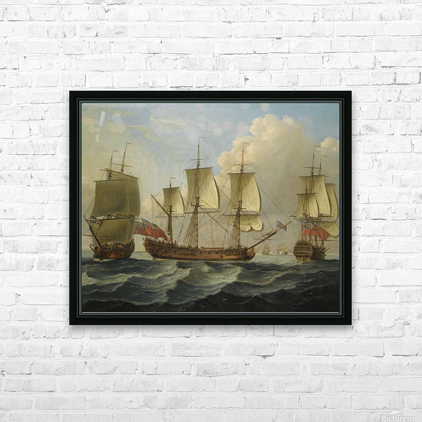 An East Indiamam in three pasitions HD Sublimation Metal print with Decorating Float Frame (BOX)