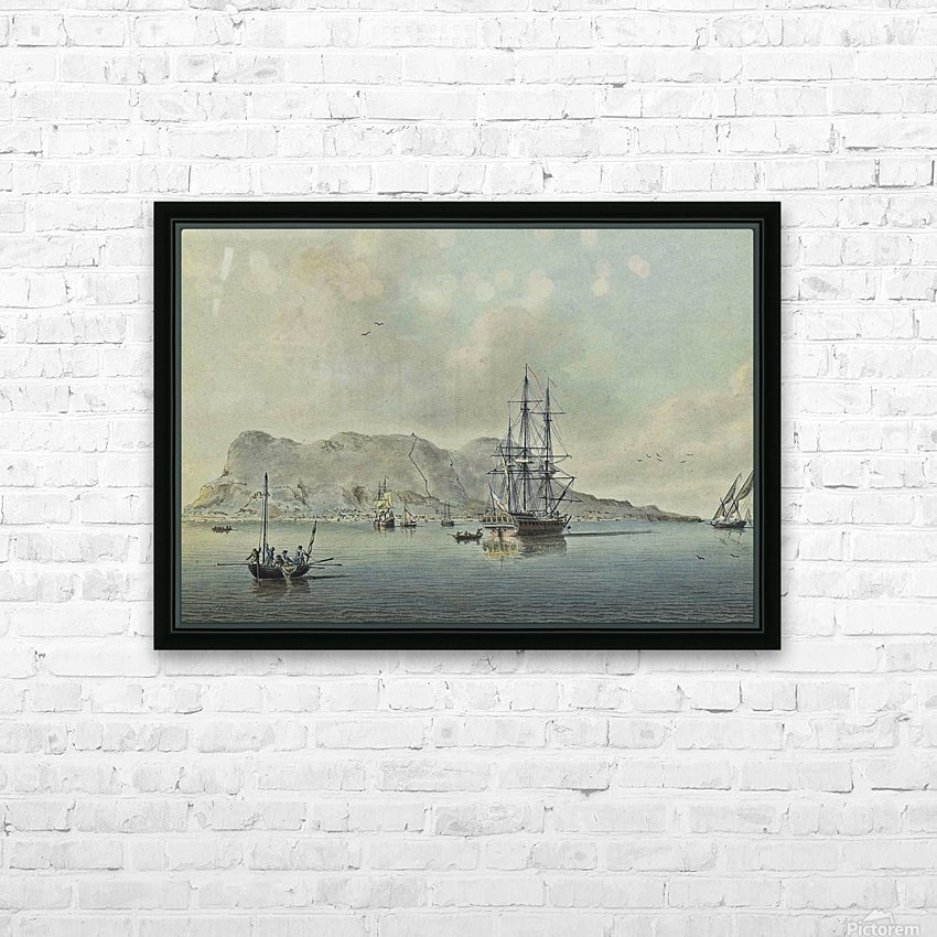 A naval lugger approaches a frigate HD Sublimation Metal print with Decorating Float Frame (BOX)