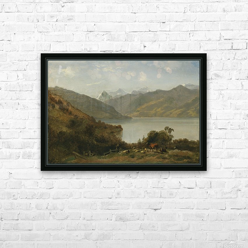 Landscape with a lake and animals HD Sublimation Metal print with Decorating Float Frame (BOX)