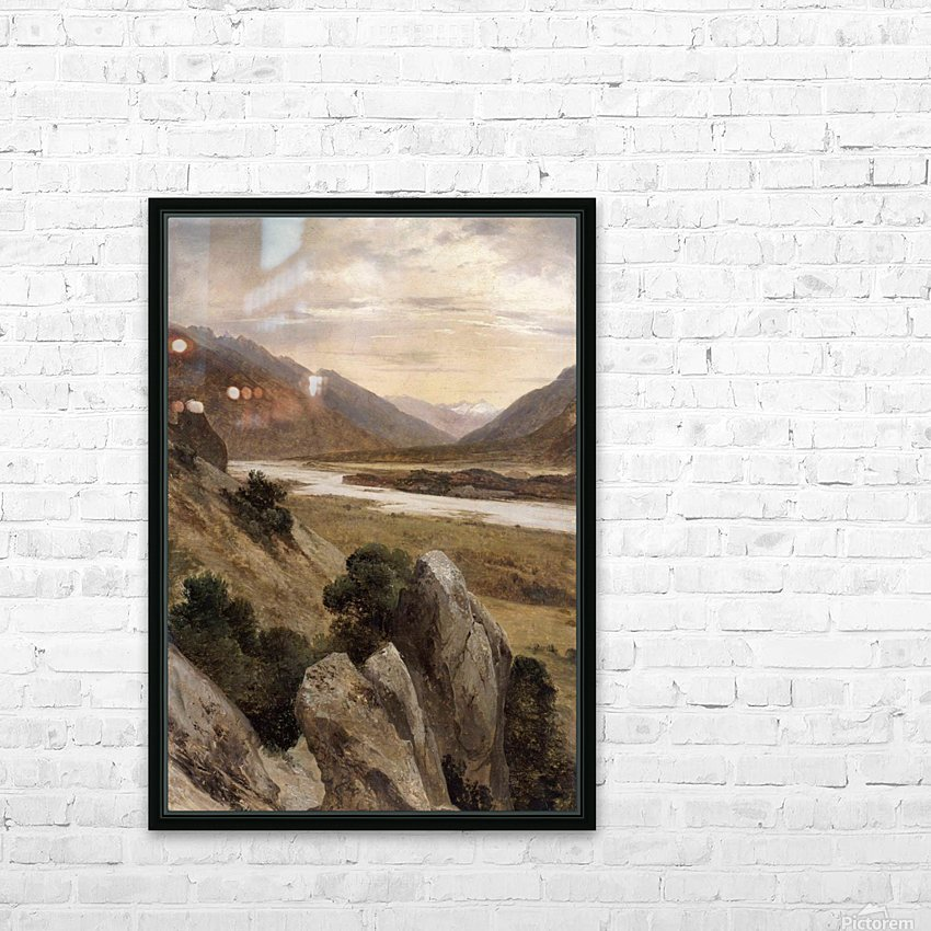 Mountainous Riverscape HD Sublimation Metal print with Decorating Float Frame (BOX)