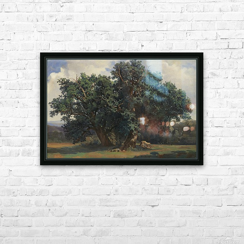 Painting of a big green tree HD Sublimation Metal print with Decorating Float Frame (BOX)