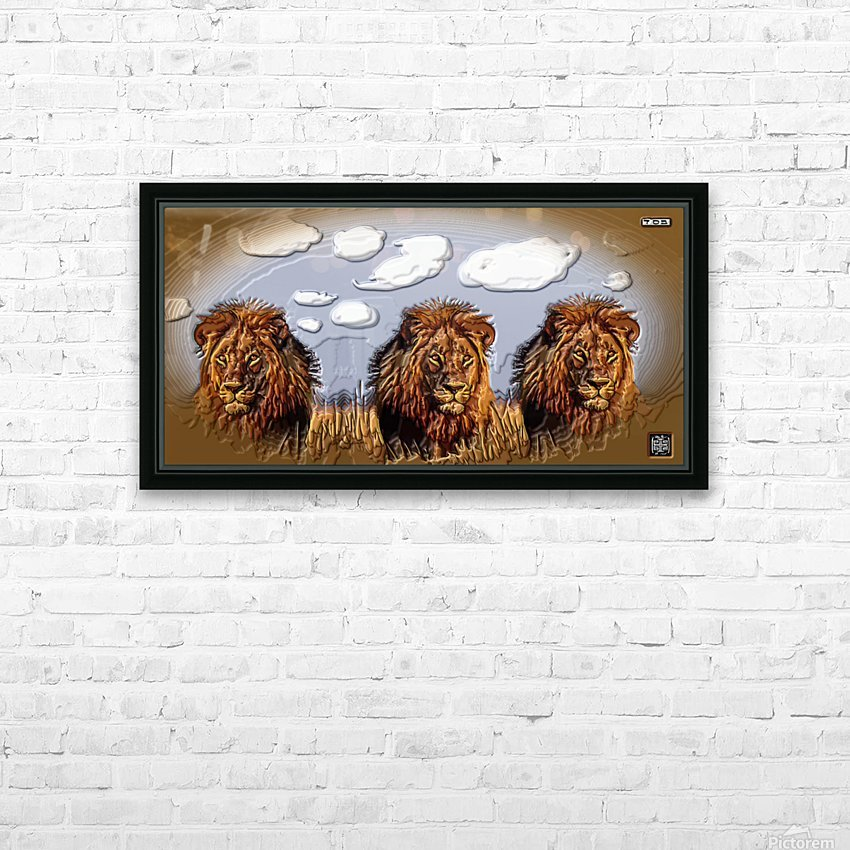 art   lion 3D  A HD Sublimation Metal print with Decorating Float Frame (BOX)