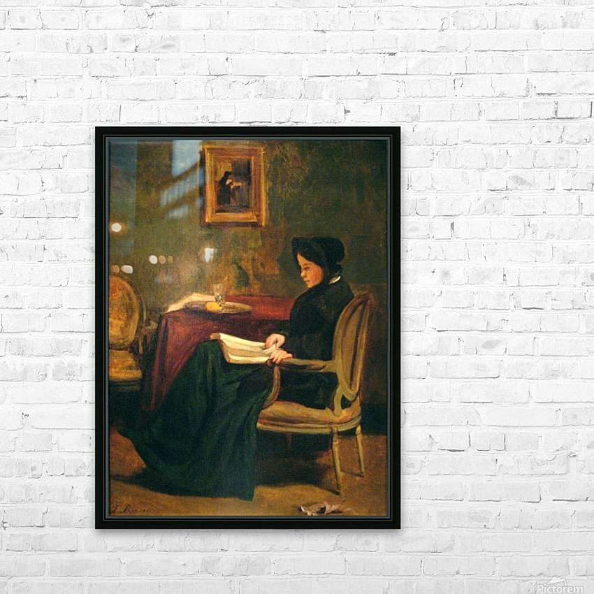 Seated woman reading, 1862 HD Sublimation Metal print with Decorating Float Frame (BOX)