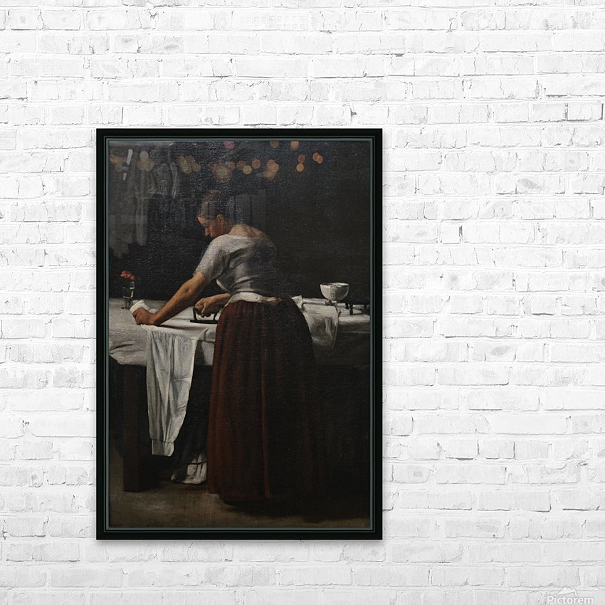 Woman ironing HD Sublimation Metal print with Decorating Float Frame (BOX)