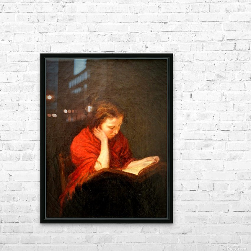 Woman reading HD Sublimation Metal print with Decorating Float Frame (BOX)