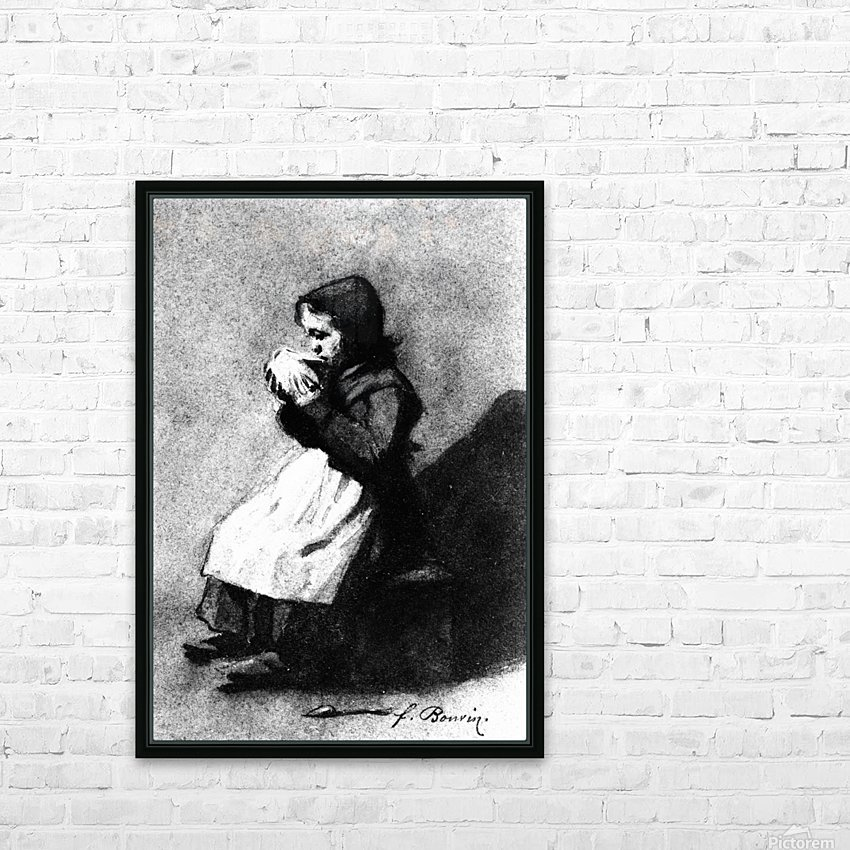 Girl Drinking from a Bowl HD Sublimation Metal print with Decorating Float Frame (BOX)