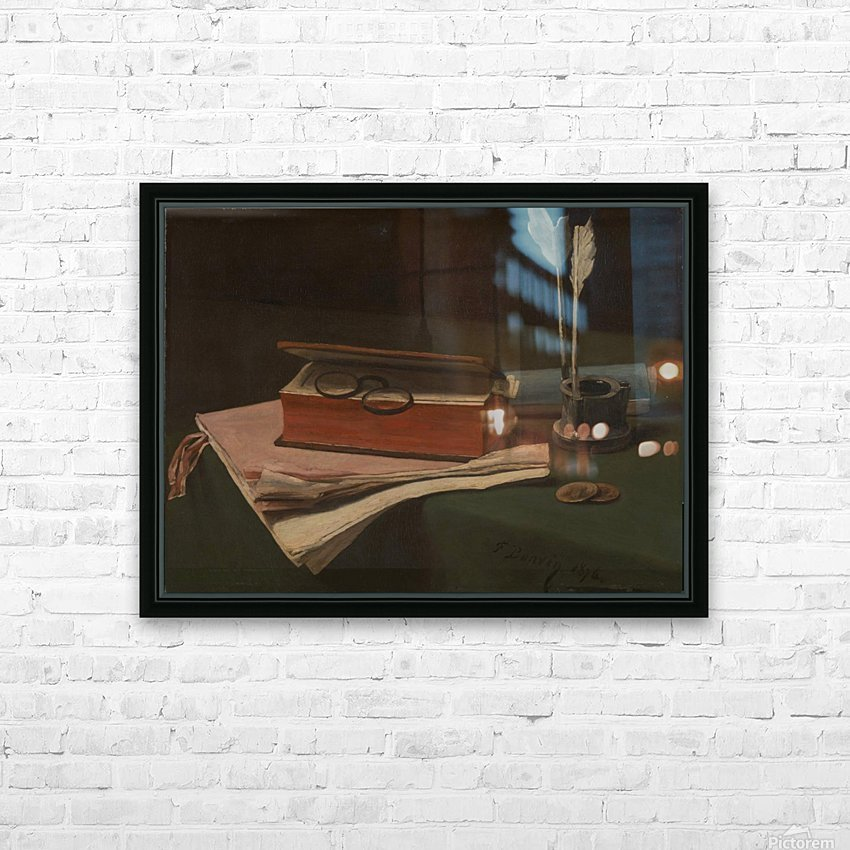 Still Life with Book, Papers and Inkwell HD Sublimation Metal print with Decorating Float Frame (BOX)