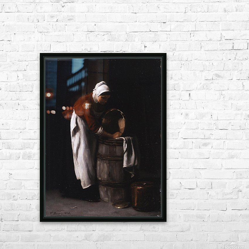 A woman cleaning a barrel HD Sublimation Metal print with Decorating Float Frame (BOX)