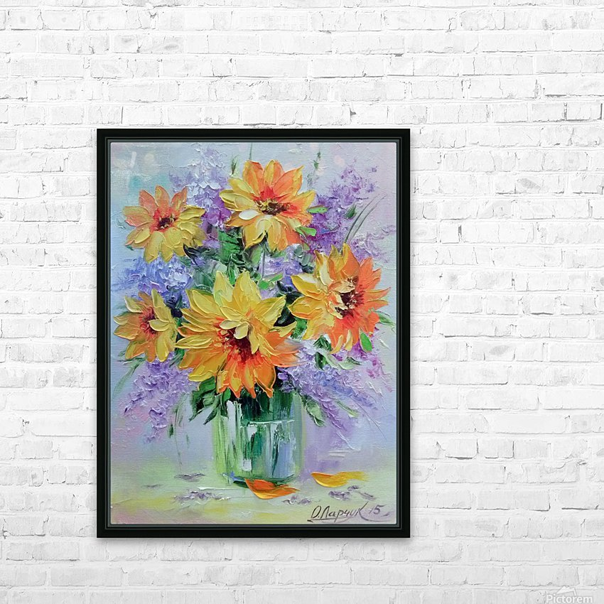 Подсолнухи HD Sublimation Metal print with Decorating Float Frame (BOX)