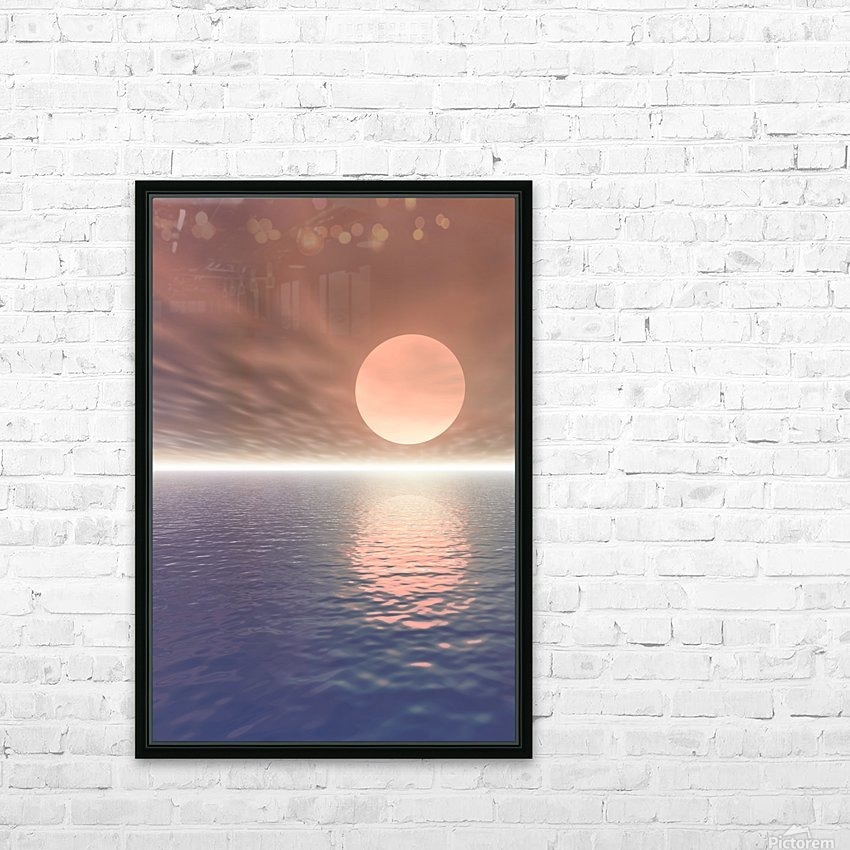 Illustrated Sun Over A Seascape HD Sublimation Metal print with Decorating Float Frame (BOX)