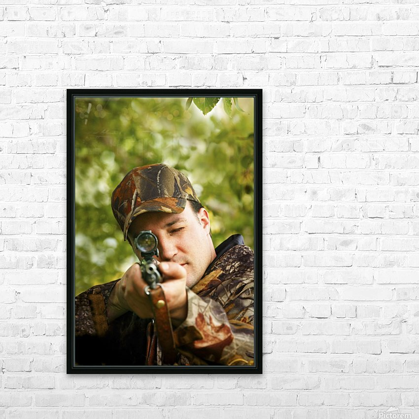 Man Hunting HD Sublimation Metal print with Decorating Float Frame (BOX)