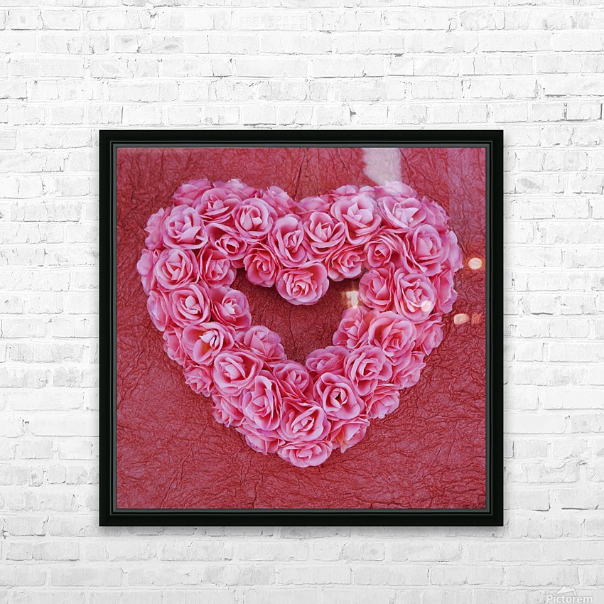 Heart-Shaped Floral Arrangement HD Sublimation Metal print with Decorating Float Frame (BOX)