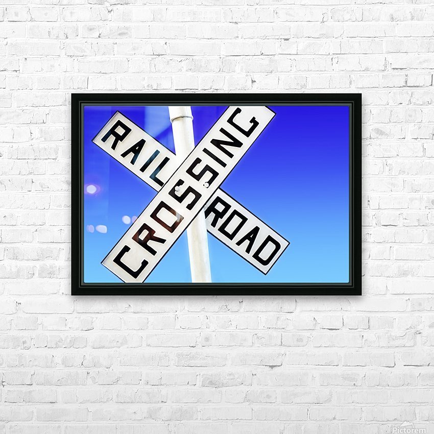 Railroad Crossing Sign HD Sublimation Metal print with Decorating Float Frame (BOX)