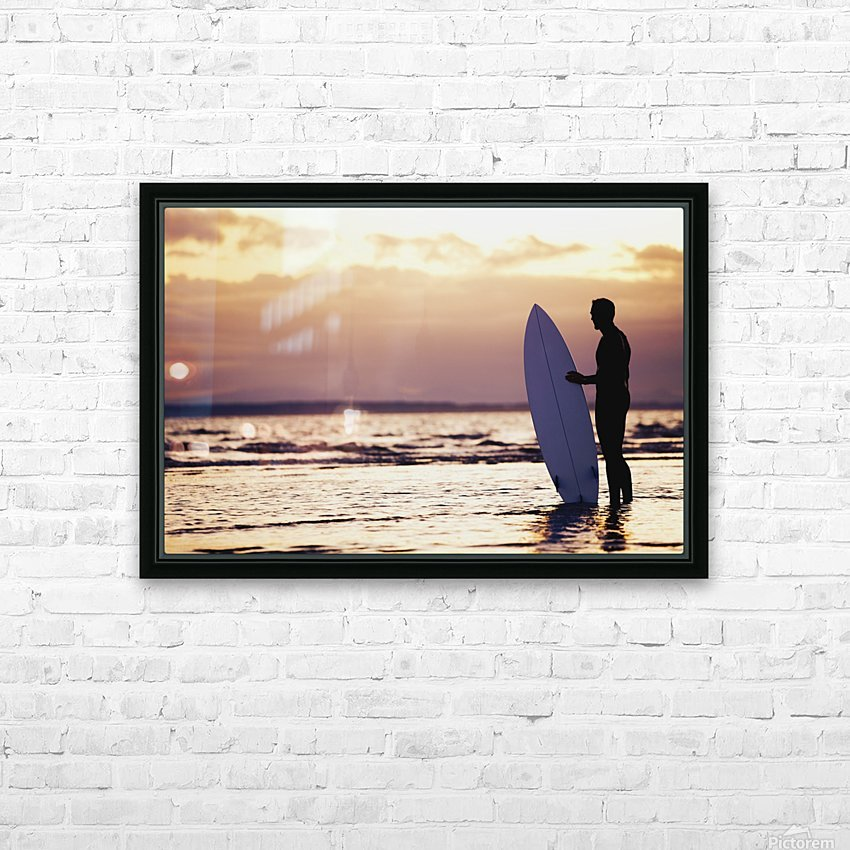 Surfer Silhouette HD Sublimation Metal print with Decorating Float Frame (BOX)