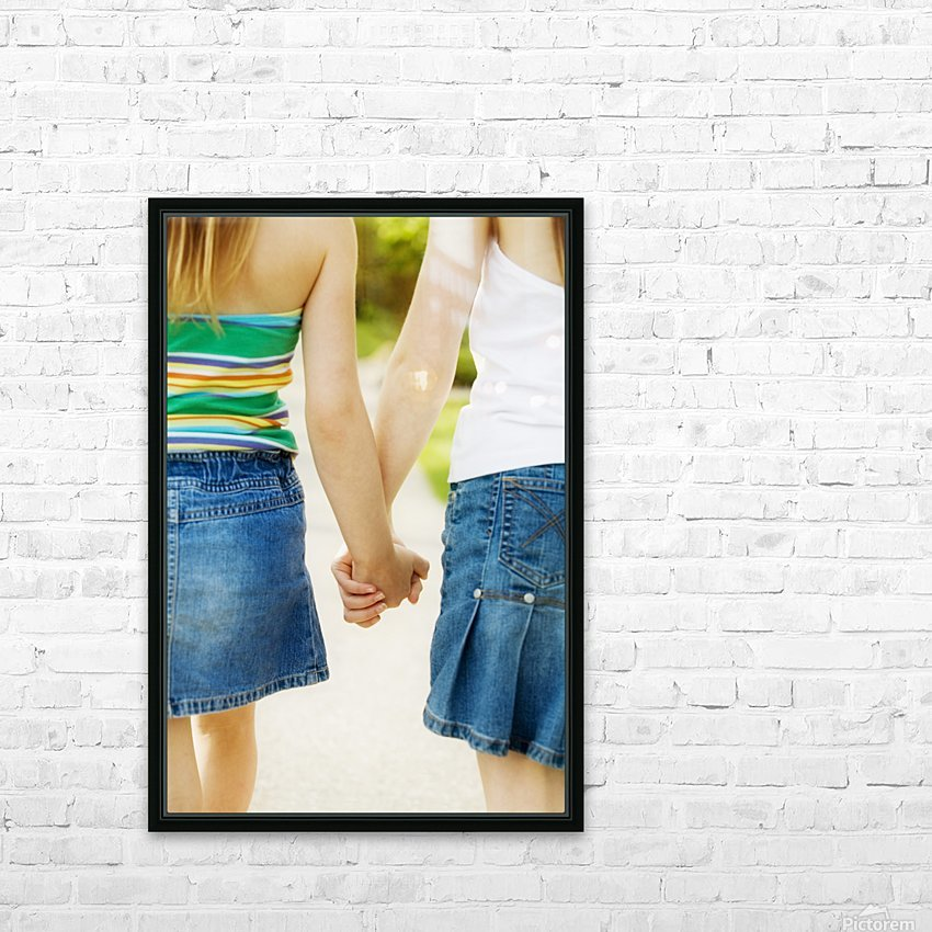 Rear View Of Girls Holding Hands HD Sublimation Metal print with Decorating Float Frame (BOX)