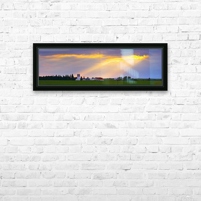God Beams Over Prairie Farm HD Sublimation Metal print with Decorating Float Frame (BOX)