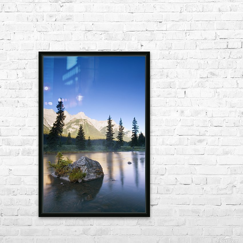 Sunrise And Early Morning Mist On Mountain River HD Sublimation Metal print with Decorating Float Frame (BOX)