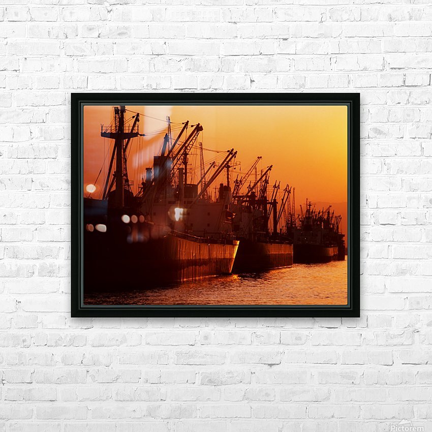 Shipping Freighters At Sunset HD Sublimation Metal print with Decorating Float Frame (BOX)