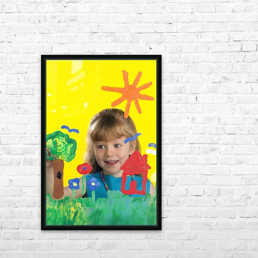 Girl Painting On Glass HD Sublimation Metal print with Decorating Float Frame (BOX)