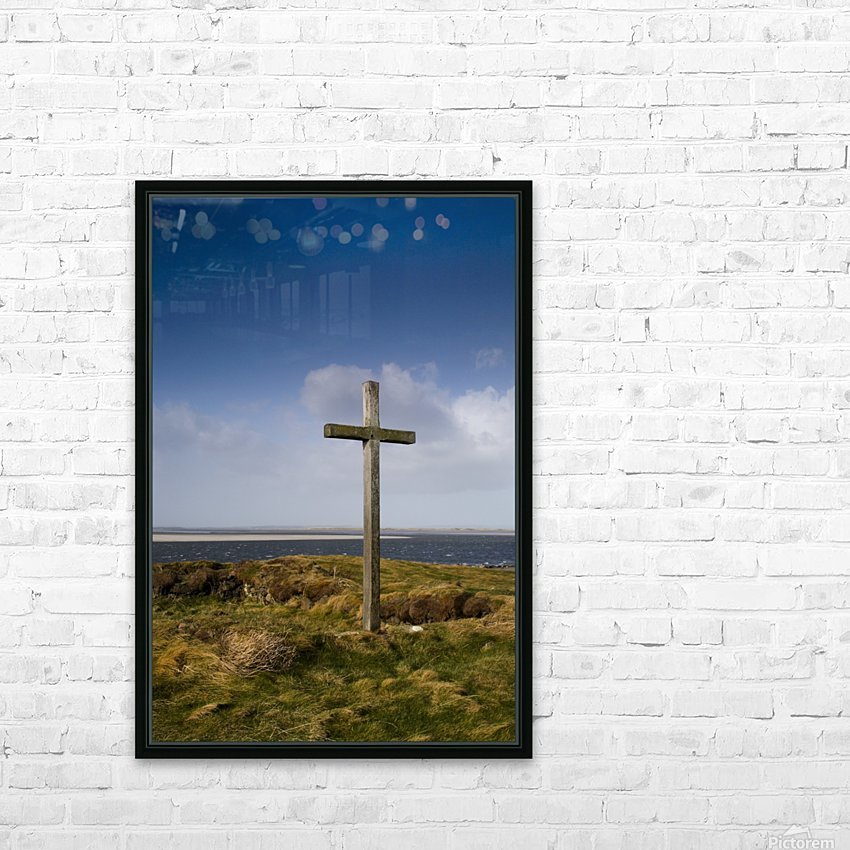 Grave Site Marked By A Cross On A Hill HD Sublimation Metal print with Decorating Float Frame (BOX)