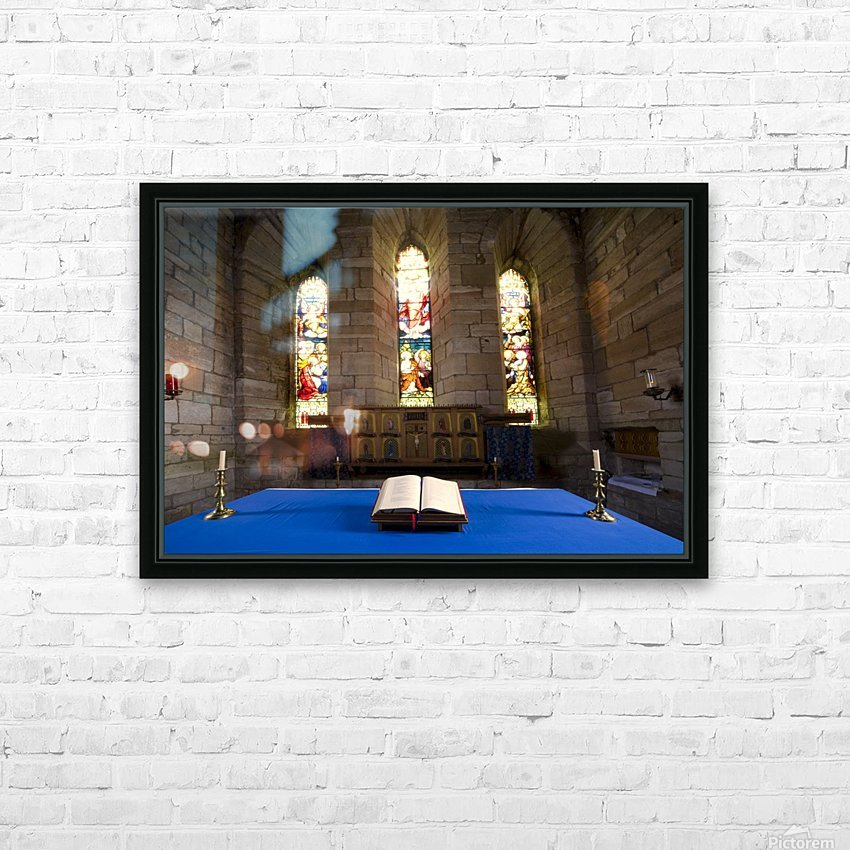 Church And Open Bible, Holy Island, Bewick, England HD Sublimation Metal print with Decorating Float Frame (BOX)