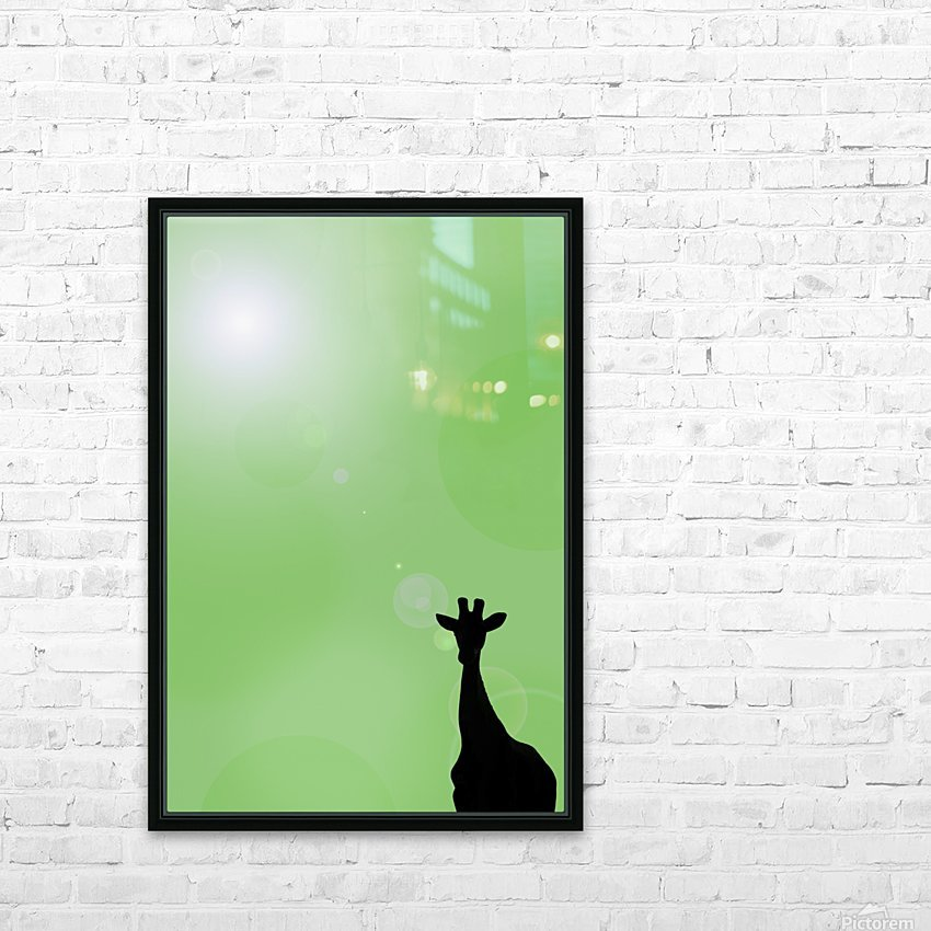 Silhouette Of A Giraffe HD Sublimation Metal print with Decorating Float Frame (BOX)