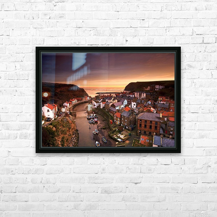 Cityscape At Sunset, Staithes, Yorkshire, England HD Sublimation Metal print with Decorating Float Frame (BOX)