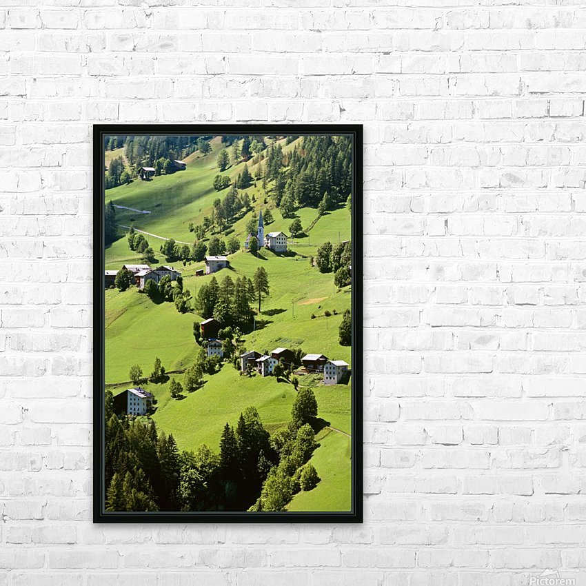 Mountain Village In Dolomites, Italy HD Sublimation Metal print with Decorating Float Frame (BOX)