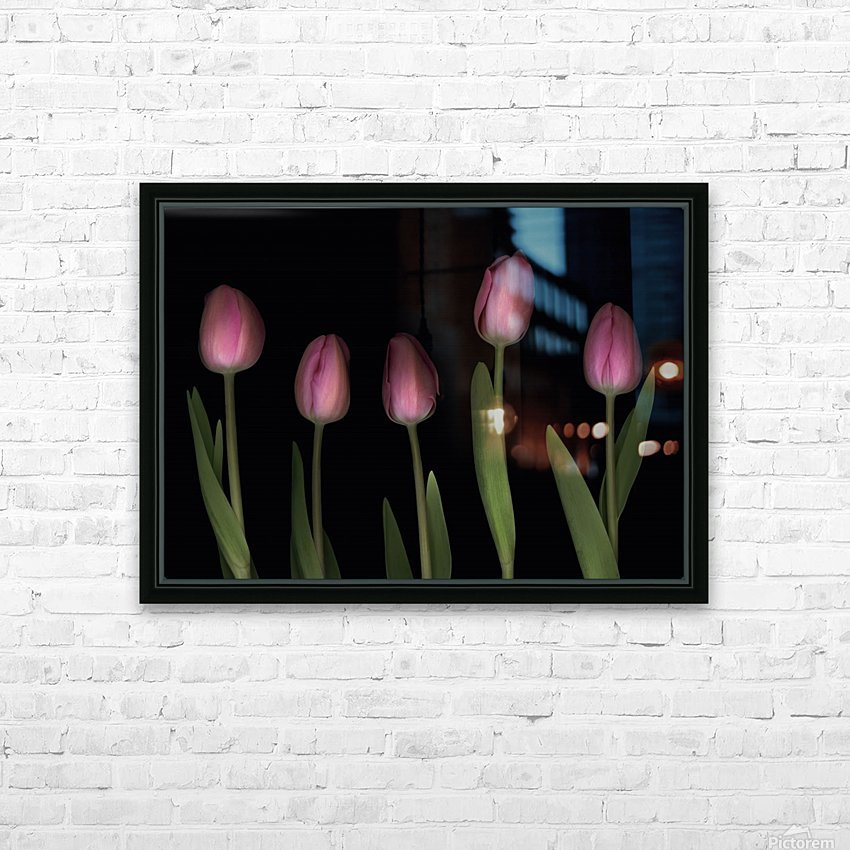 Pink Tulips HD Sublimation Metal print with Decorating Float Frame (BOX)