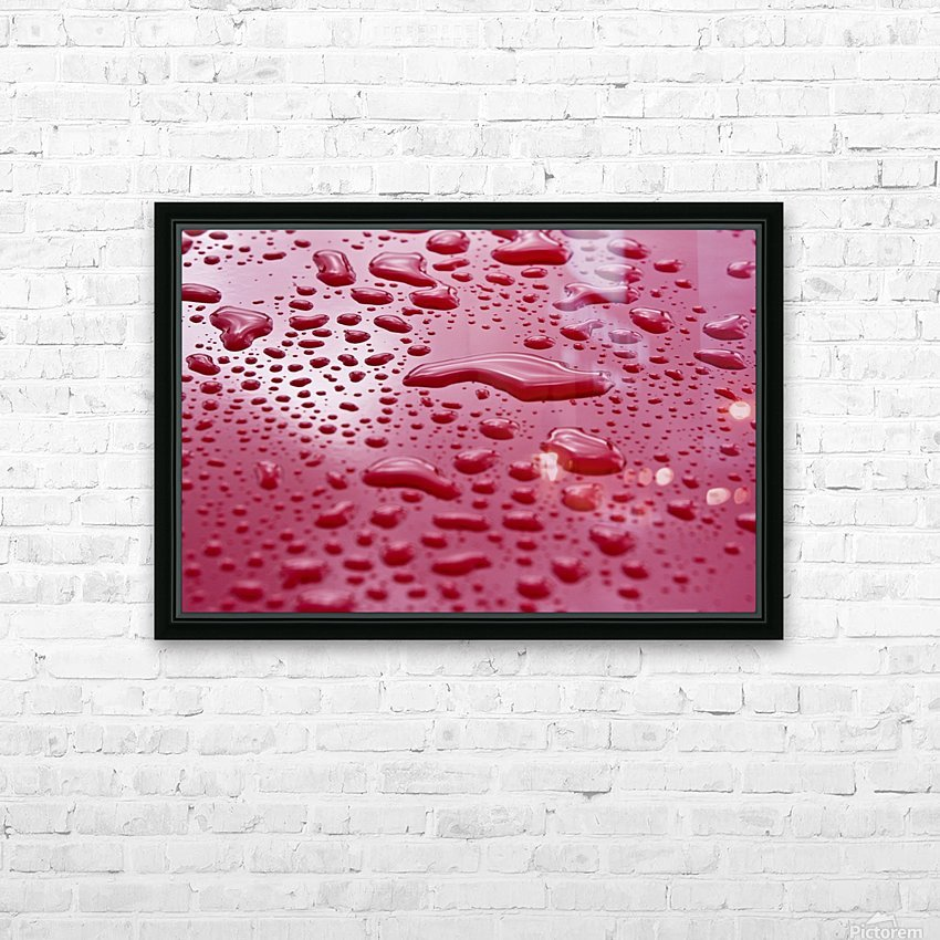 Liquid Drops On Red Surface HD Sublimation Metal print with Decorating Float Frame (BOX)