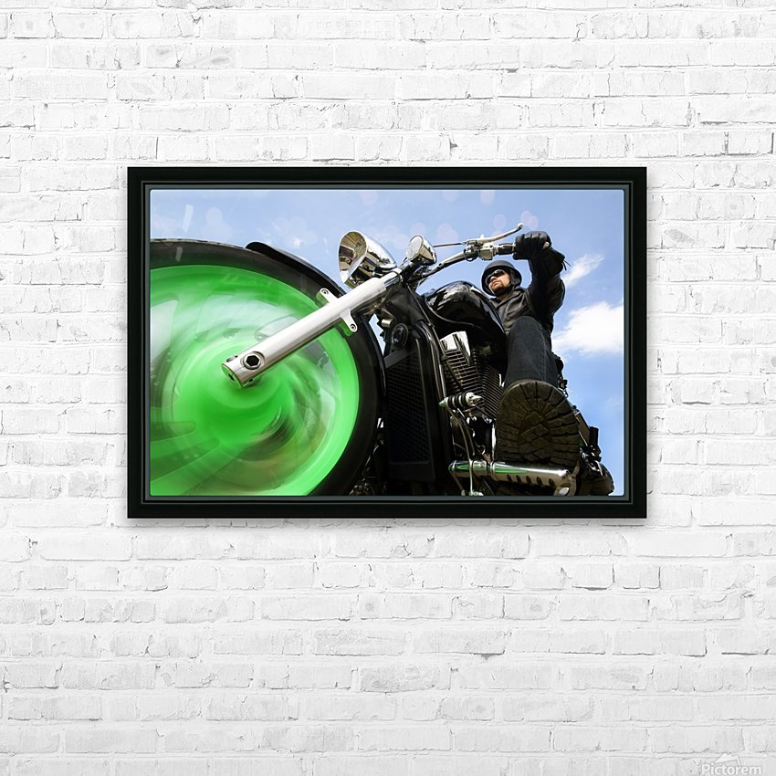 Man Riding A Motorbike HD Sublimation Metal print with Decorating Float Frame (BOX)