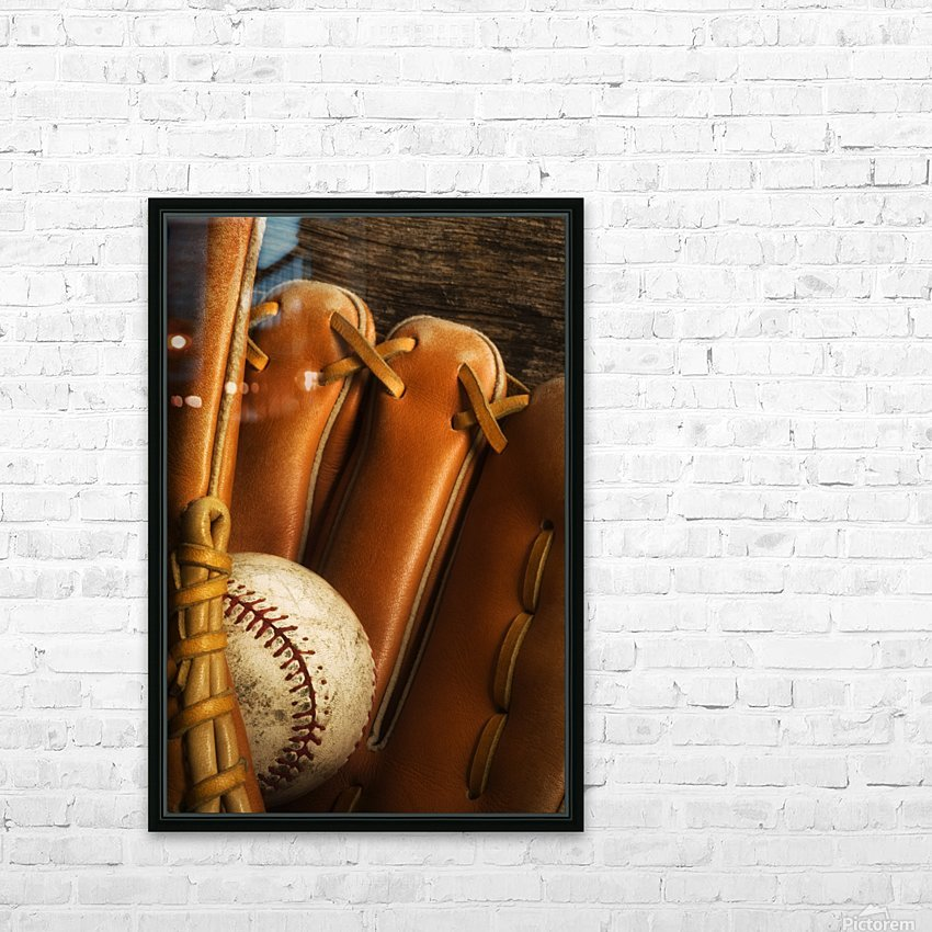 Baseball Glove And Baseball HD Sublimation Metal print with Decorating Float Frame (BOX)