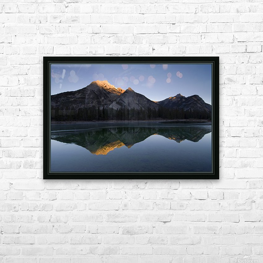Mirror Image Of A Mountain In Water, Mount Lorette, Kananaskis, Alberta, Canada HD Sublimation Metal print with Decorating Float Frame (BOX)