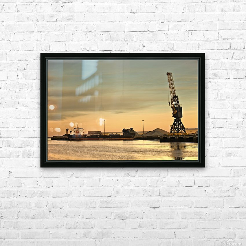 Tyne And Wear, Sunderland, England; Crane At A Shipping Dock HD Sublimation Metal print with Decorating Float Frame (BOX)