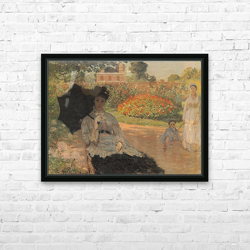 Camille in the garden with Jean and his nanny by Monet HD Sublimation Metal print with Decorating Float Frame (BOX)