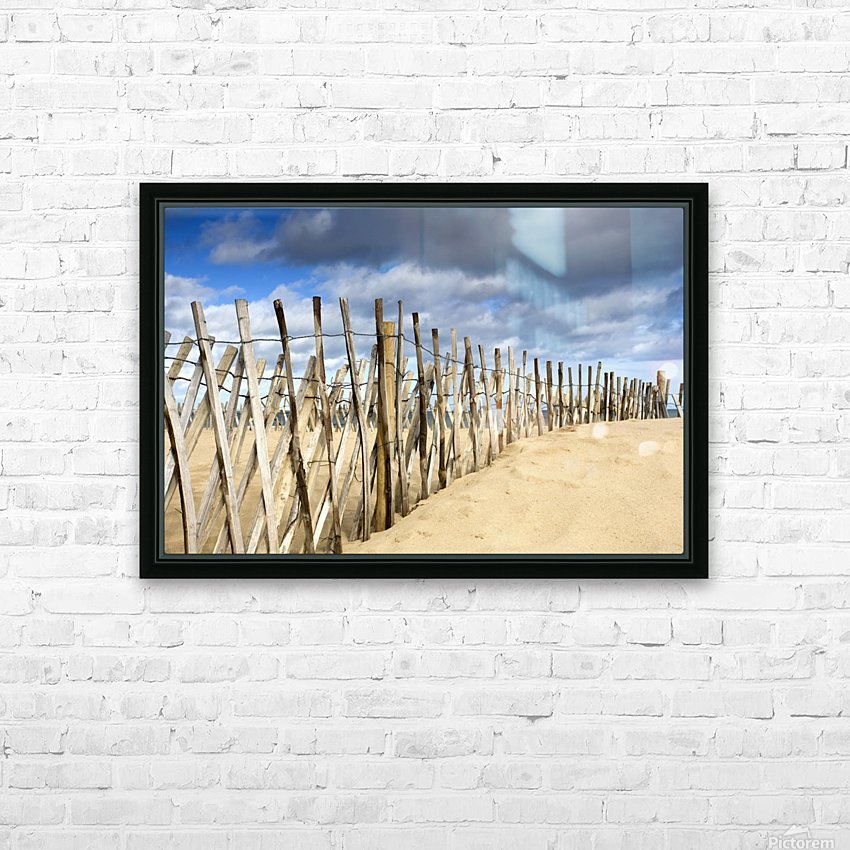 South Shields, Tyne And Wear, England; Dark Clouds Over Fence On A Beach HD Sublimation Metal print with Decorating Float Frame (BOX)