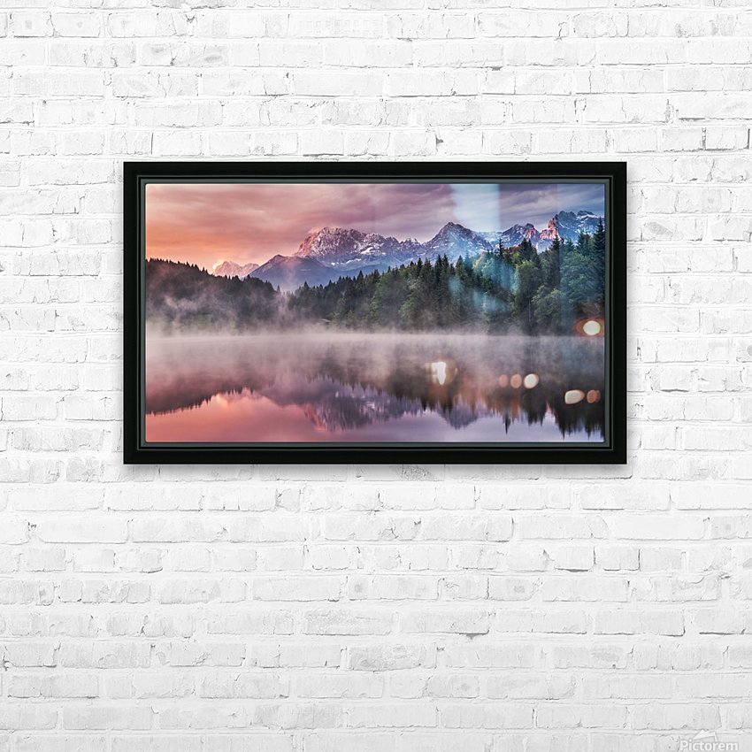 Sunrise at a Lake with Alps in the Background HD Sublimation Metal print with Decorating Float Frame (BOX)