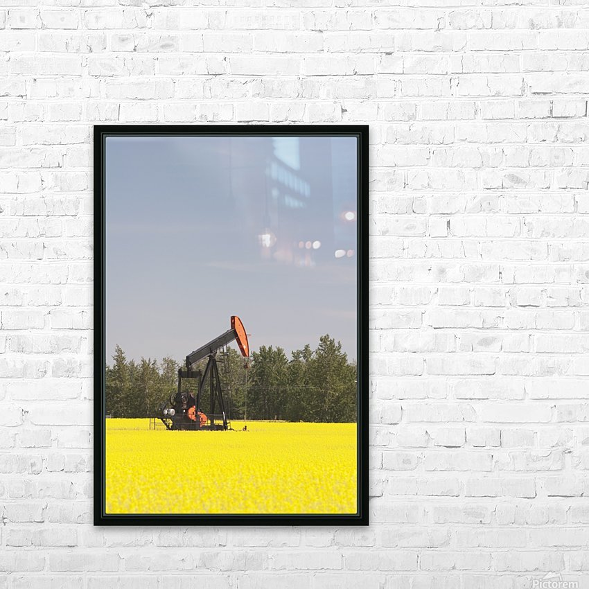 Alberta, Canada; Pump Jack In A Flowering Canola Field HD Sublimation Metal print with Decorating Float Frame (BOX)