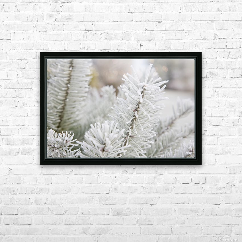 Frost On Pine Tree HD Sublimation Metal print with Decorating Float Frame (BOX)