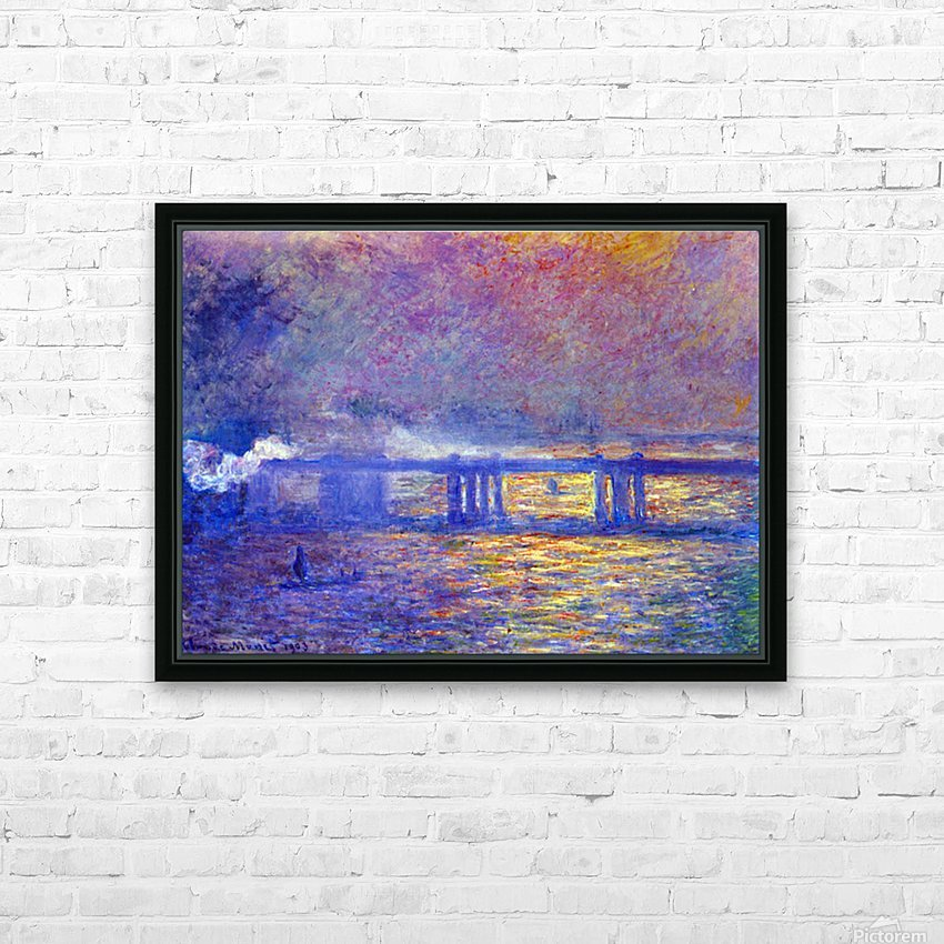 Charing cross bridge by Monet HD Sublimation Metal print with Decorating Float Frame (BOX)