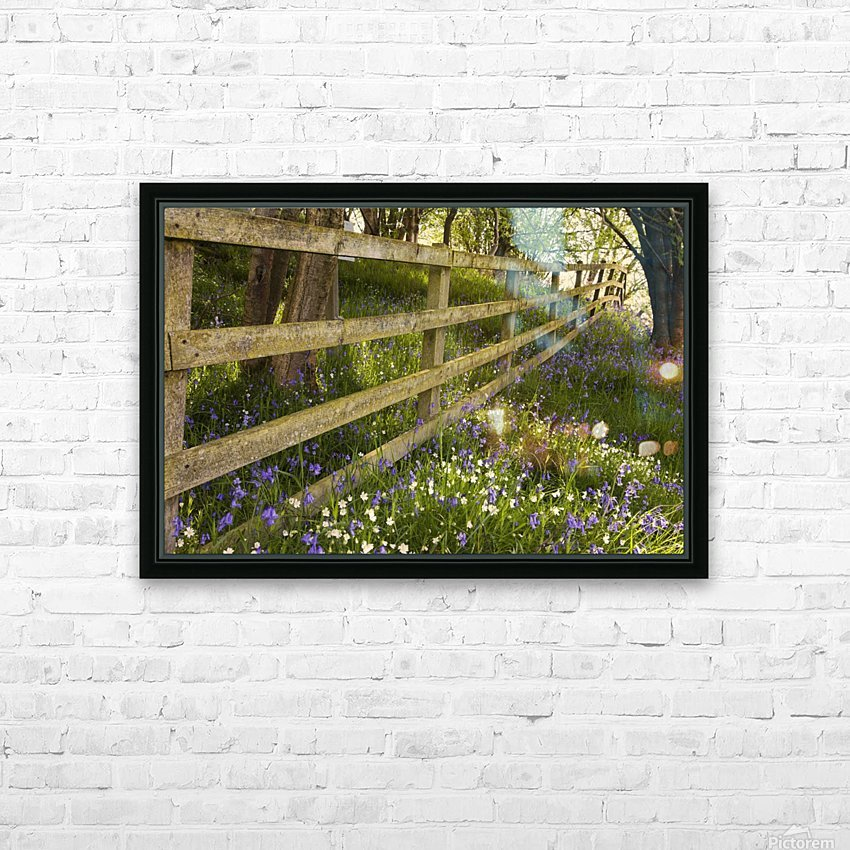 A Wooden Fence In A Forested Area With Blue And White Wildflowers On The Ground; Northumberland, England HD Sublimation Metal print with Decorating Float Frame (BOX)